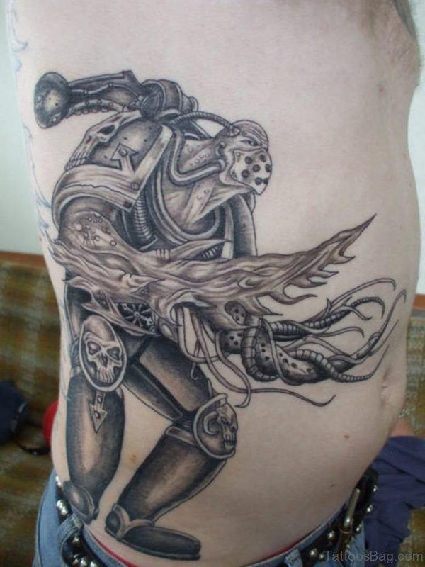 Warrior Tattoo On Rib