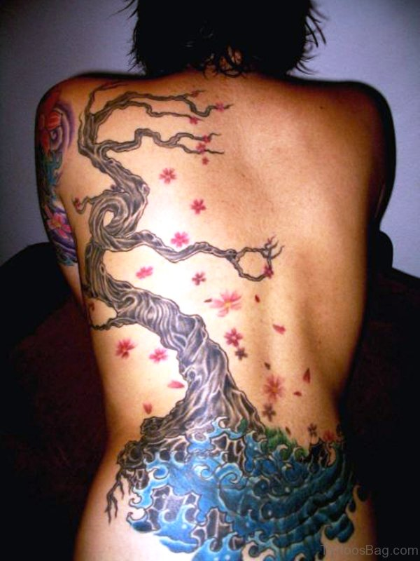 Water Tree Tattoo On Back