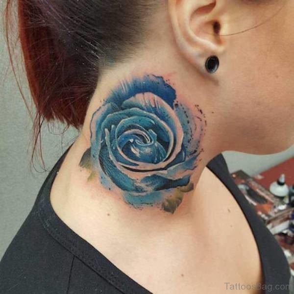 Watercolor Blue Rose Tattoo On Neck