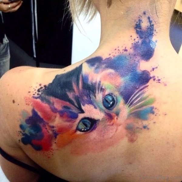 Watercolor Cat Tattoo On Shoulder