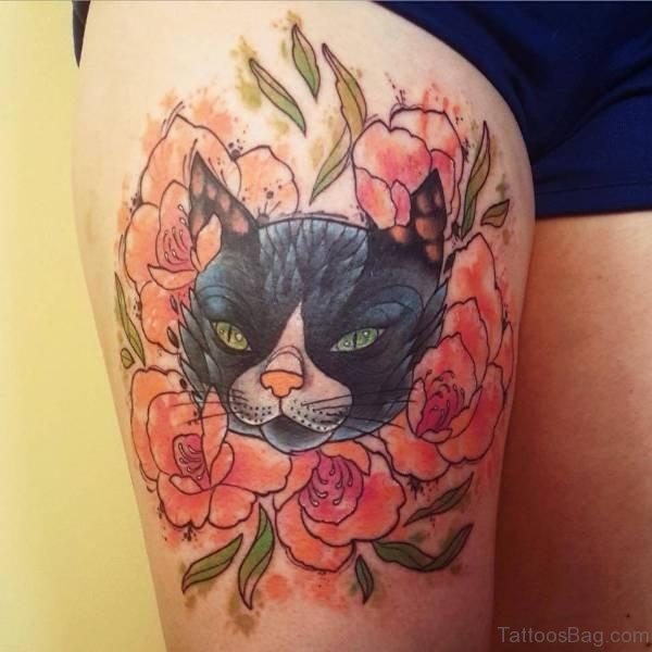 71 unique cat shoulder tattoos for Watercolor cat tattoo