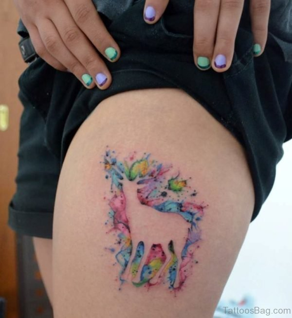 Watercolor Deer Tattoo On Thigh