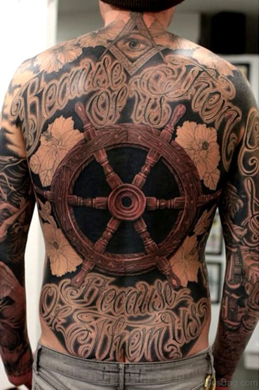 Wheel Tattoo On Full Back