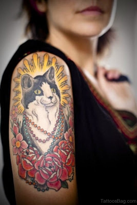 White And Black Cat Tattoo