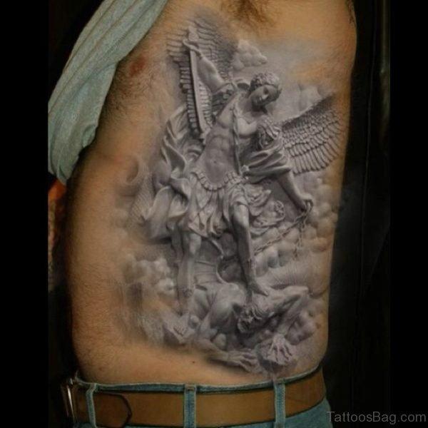 White Ink Angel Tattoo On Rib