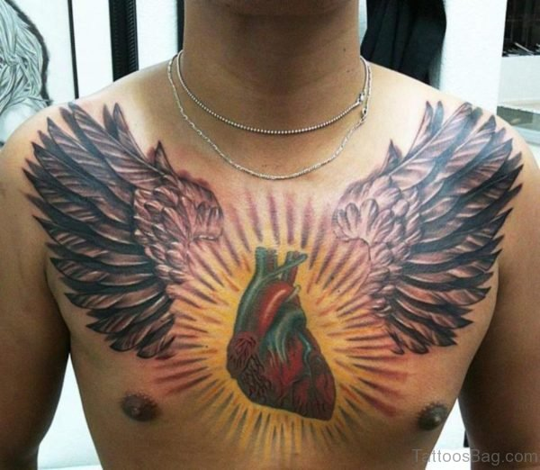 Wings And Heart Tattoo