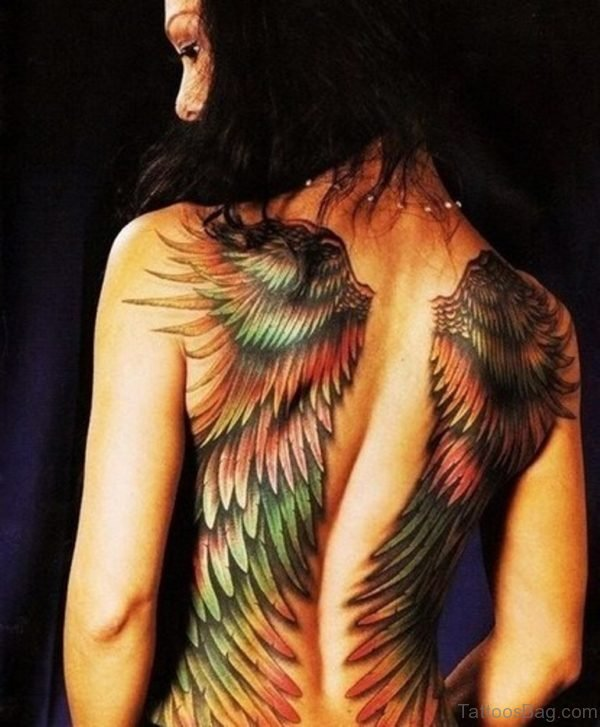 Wings Tattoo On Back Body