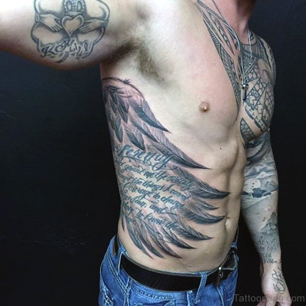 Wings and Wording Tattoo