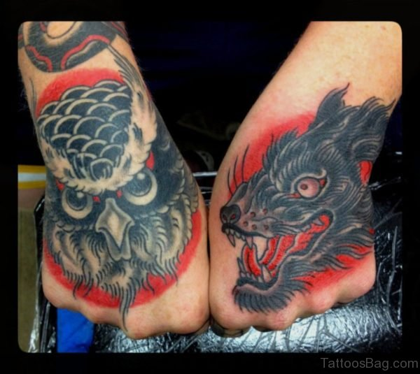Wolf And Owl Tattoos On Hand