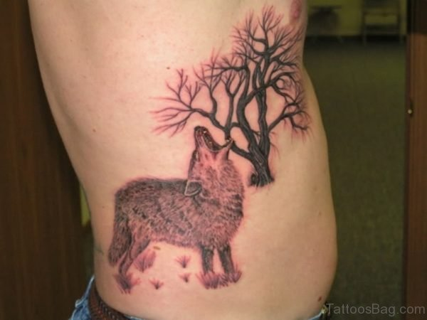 Wolf And Tree Tattoo