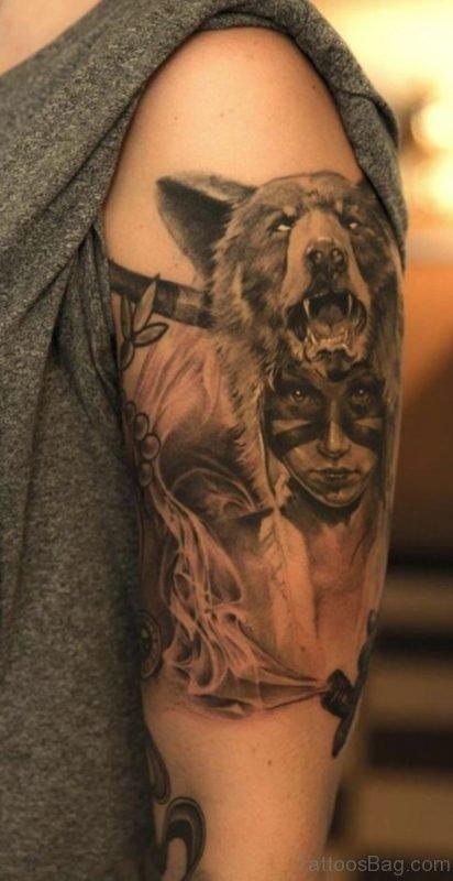 Wolf Tattoo On Full Sleeve