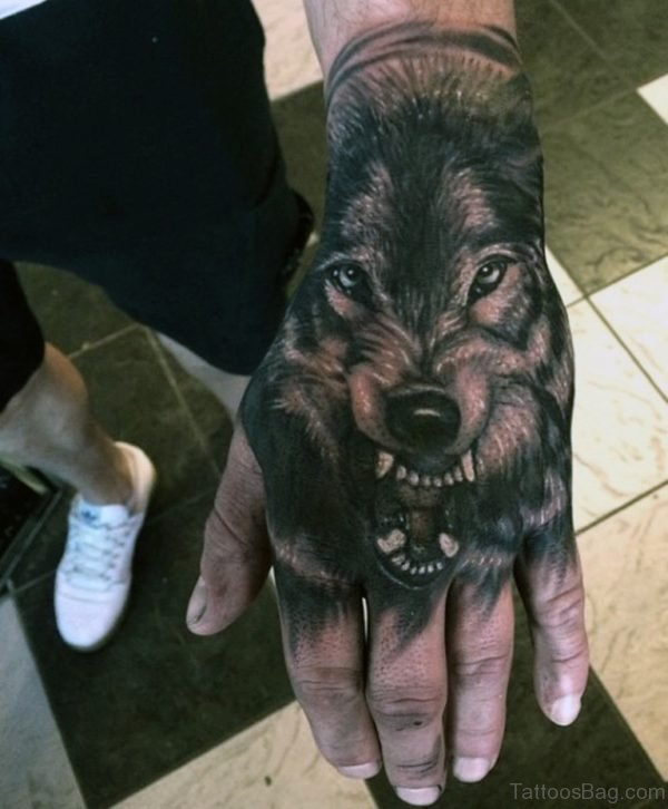Wolf Tattoo On Hand