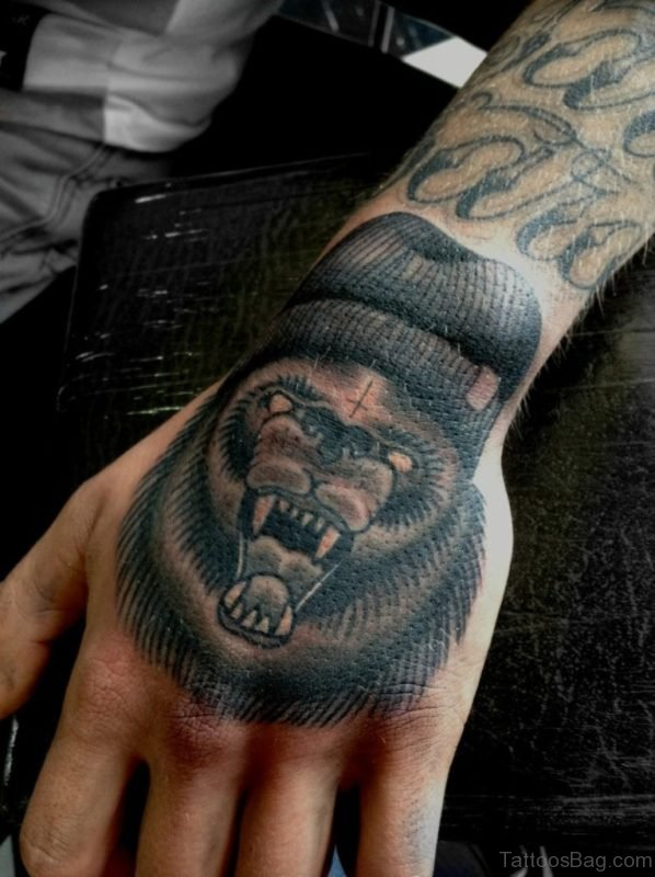 Wolf Tattoo On Hand