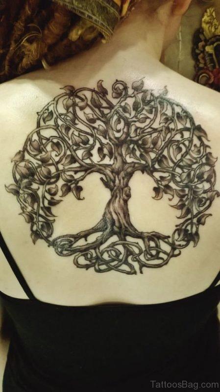 Woman Upper Back Celtic Tree Tattoo