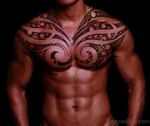 Wondeful Trible Tattoo On Chest