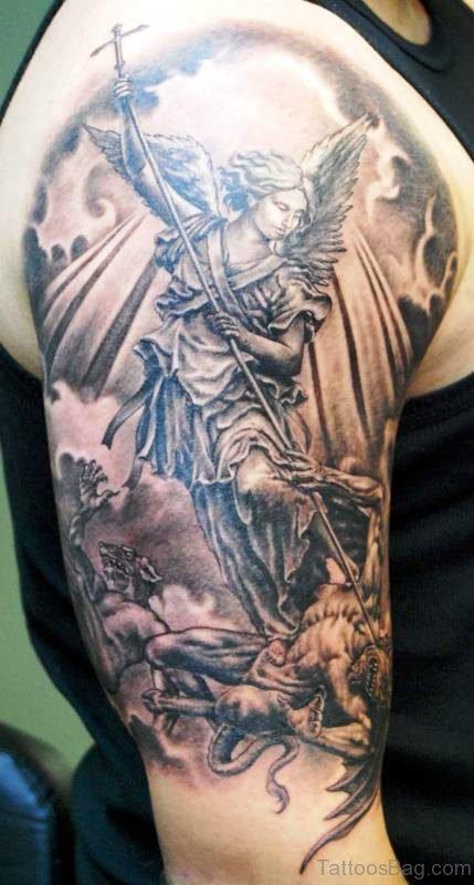 Wonderful Archangel Tattoo On Shoulder