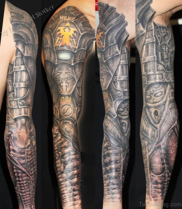 Wonderful Bio Mechanical Tattoo On Full Sleeve