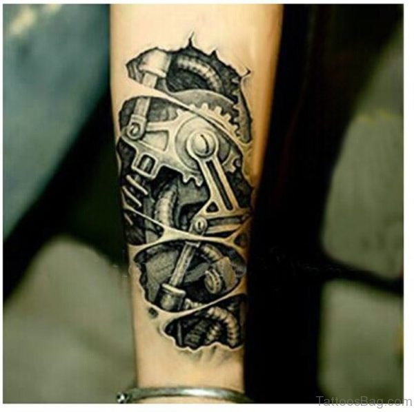 Wonderful Bio Mechanical Tattoo On Wrist
