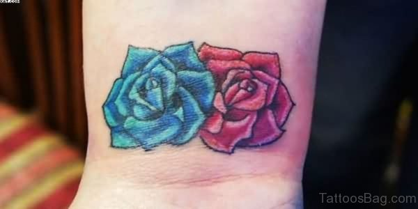 Wonderful Blue And Red Rose Tattoo