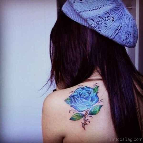 Wonderful Blue Rose Shoulder Tattoo