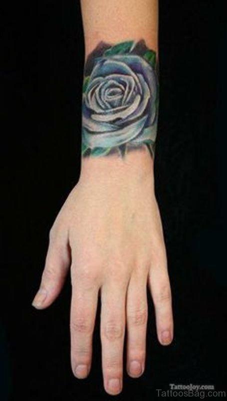 Wonderful Blue Rose Tattoo 1