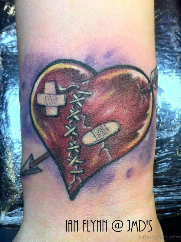 Wonderful Broken Heart Tattoo On Wrist