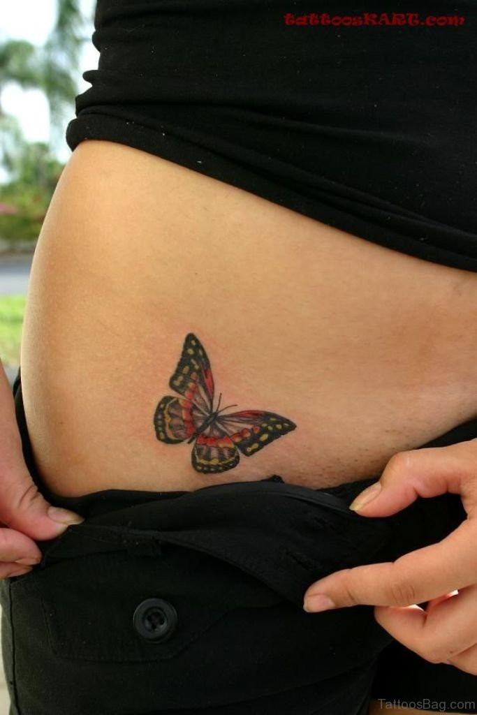 50 cute butterfly tattoos on waist. Black Bedroom Furniture Sets. Home Design Ideas