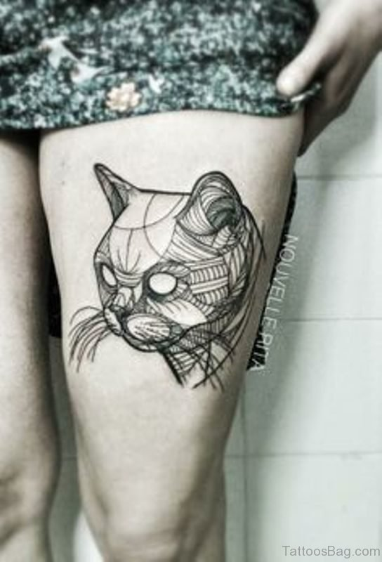 Wonderful Cat Tattoo on Thigh