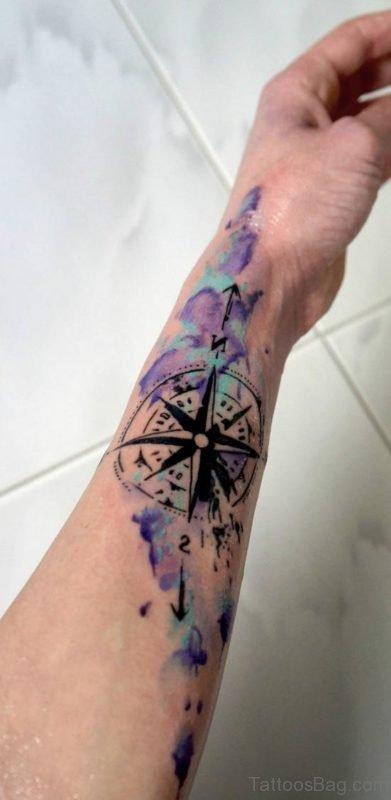 Wonderful Compass Tattoo On Arm