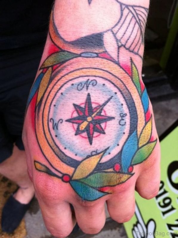 Wonderful Compass Tattoo On hand