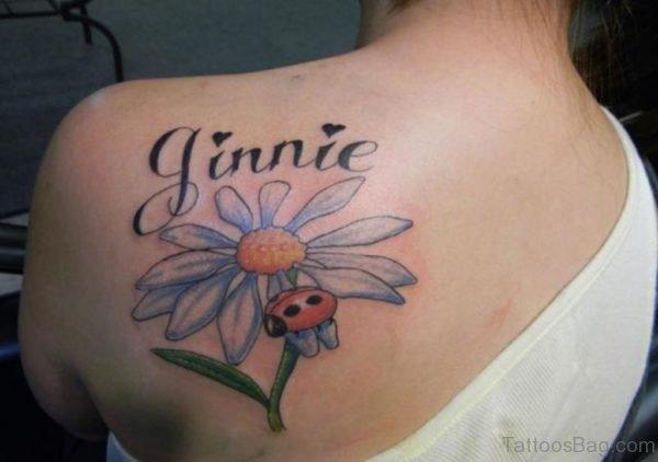 Wonderful Daisy Flower Tattoo On Back