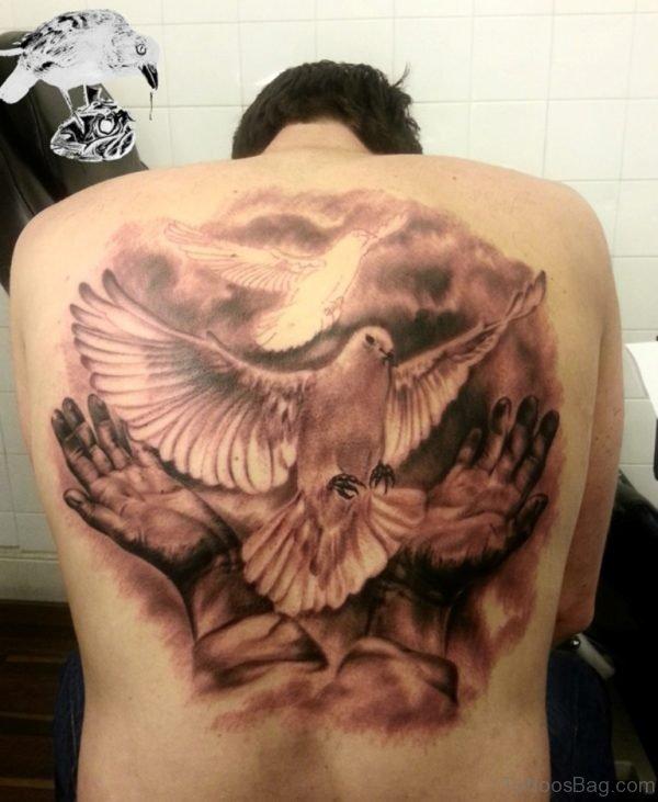 Wonderful Dove Tattoo On back