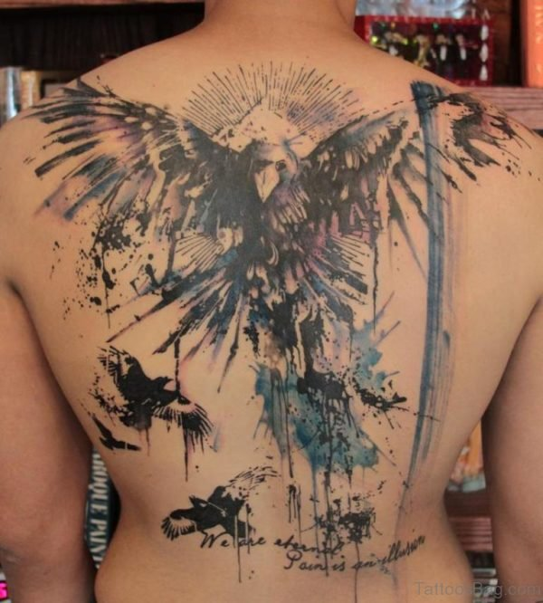 Wonderful Eagle Tattoo Design On Back