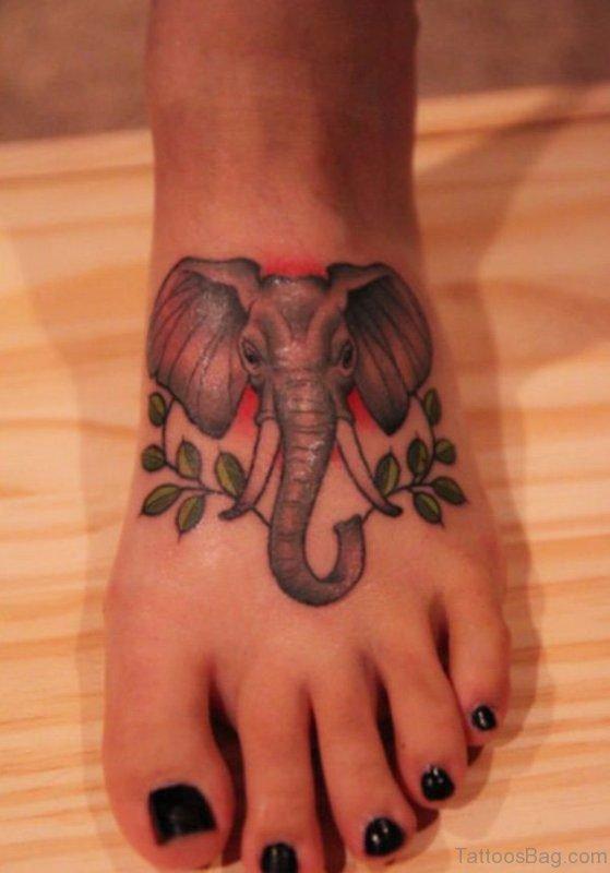 Wonderful Elephant Head Tatoo On Foot