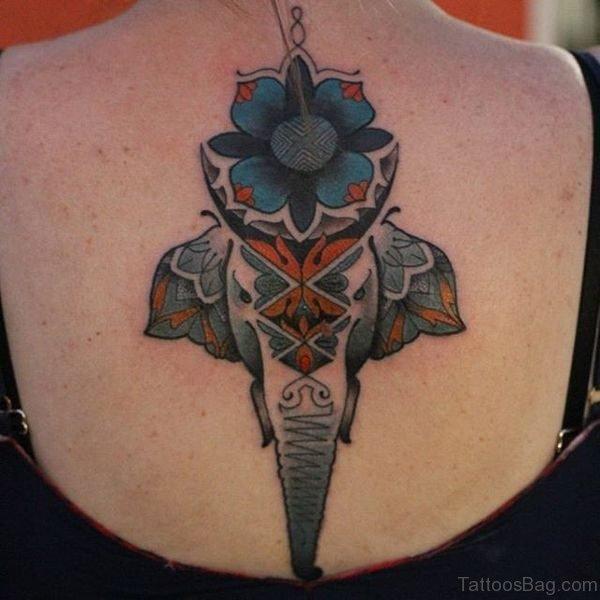 Wonderful Elephant Head Tattoo On Back
