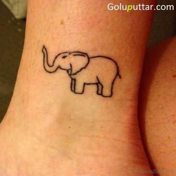 Wonderful Elephant Tattoo On Ankle