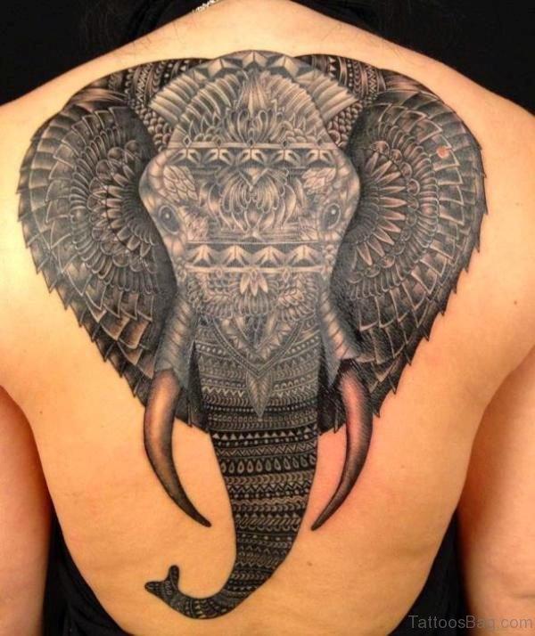 Wonderful Elephant Tattoo On Back 1