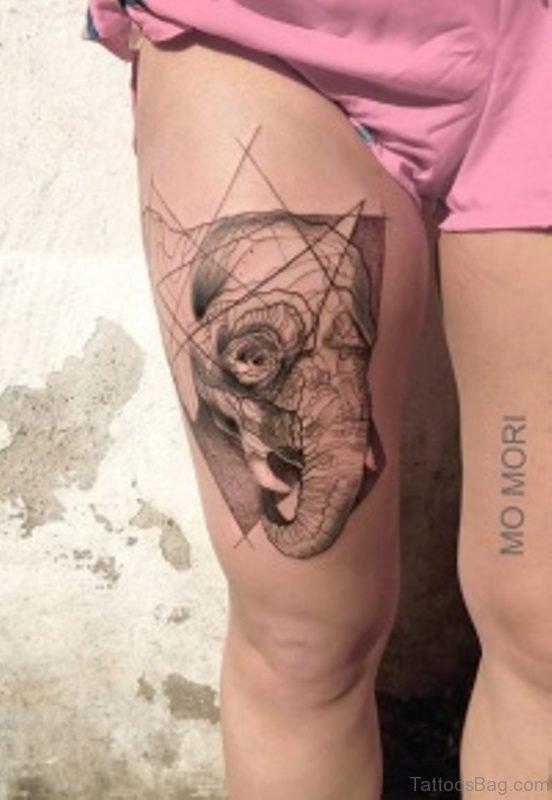 Wonderful Elephant Thigh Tattoo