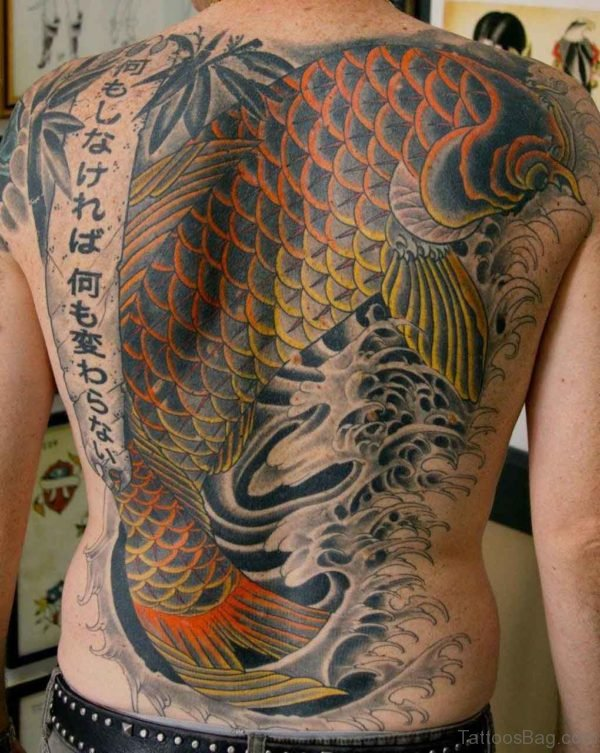 Wonderful Fish Tattoo On Back Body