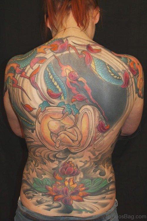 Wonderful Flower Tattoo On Back Body