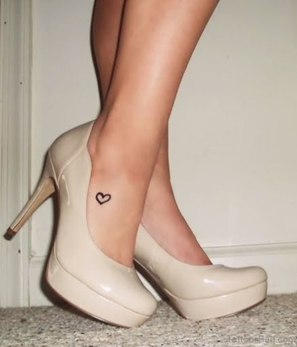Wonderful Heart Tattoo On Ankle
