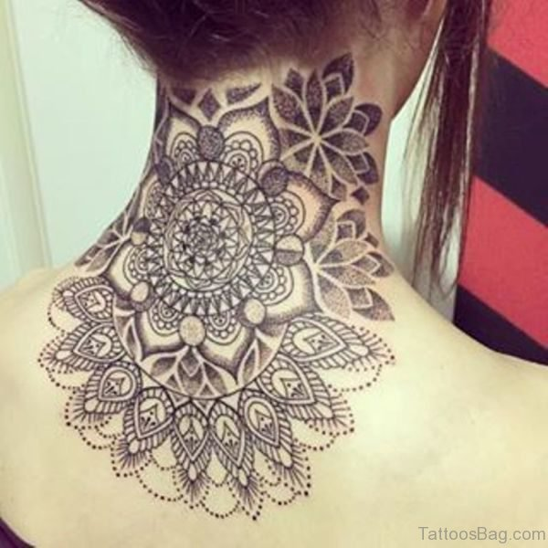 Wonderful Mandala Neck Back Tattoo