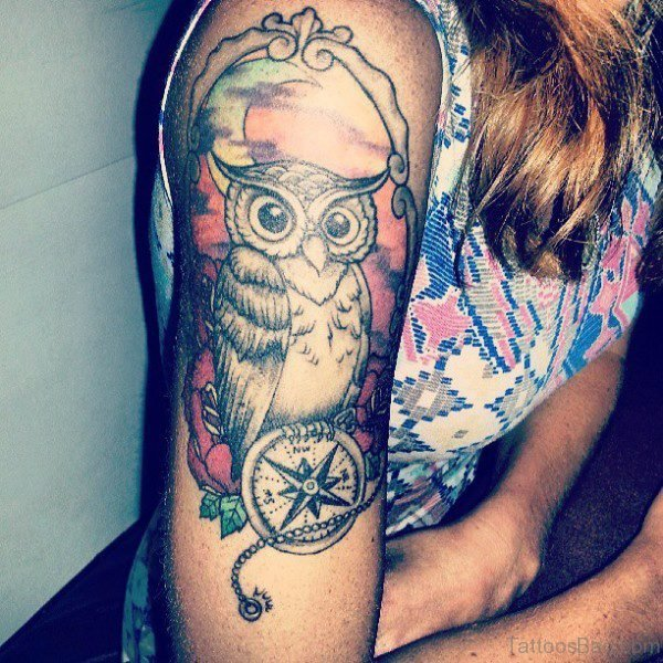 Wonderful Owl Tattoo On Right Shoulder