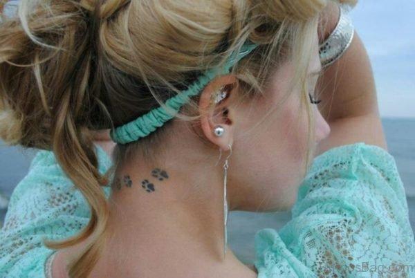 Wonderful Paw Tattoo On Neck