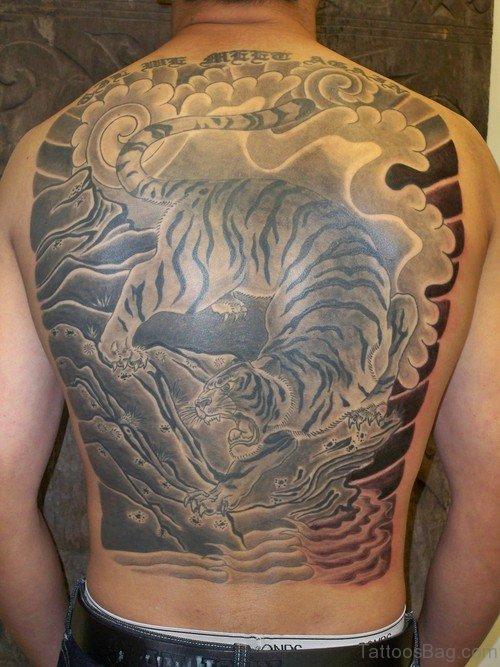 Wonderful Tiger Tattoo On Back Body