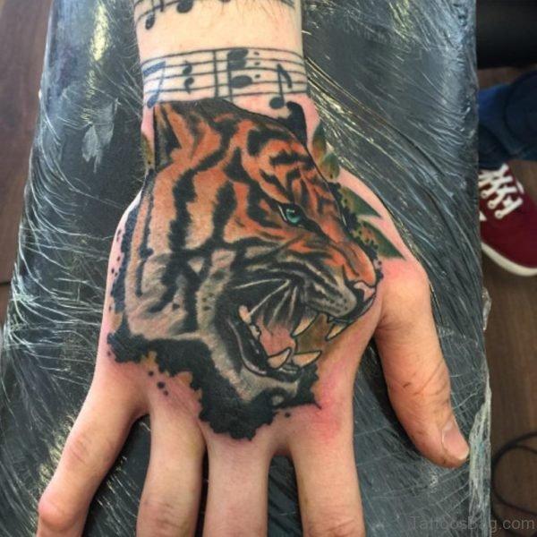 Wonderful Tiger Tattoo On Han d