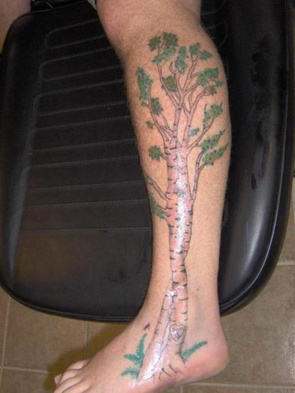 Wonderful Tree Tattoo For Leg