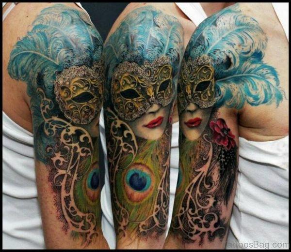 Wonderful Venetian Mask Tattoo