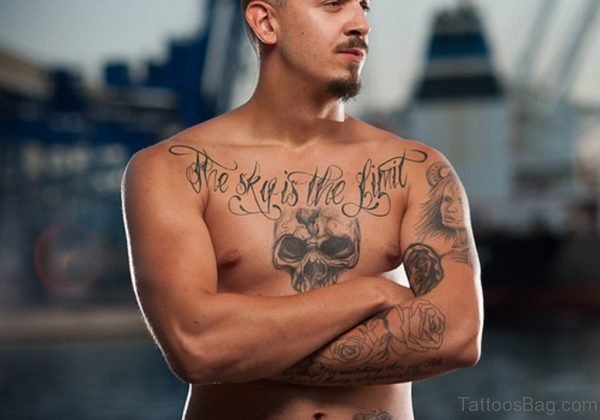 Word And Skull Tattoo