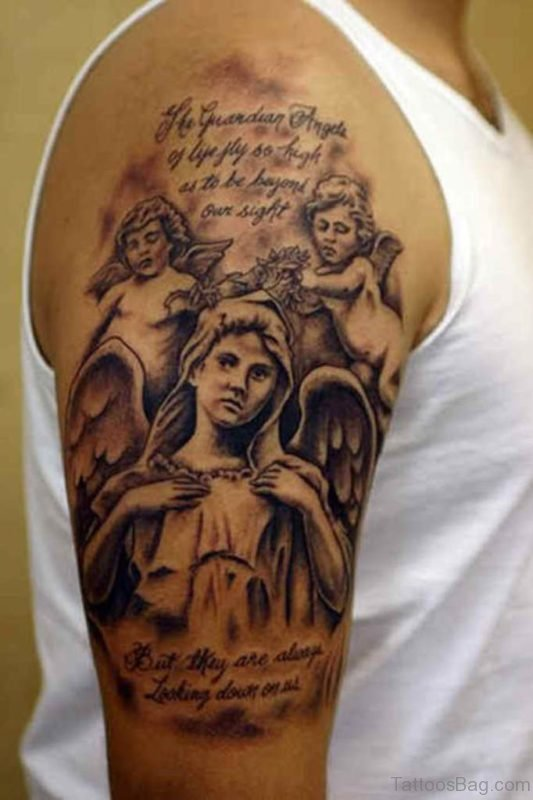 Wording And Angel Tattoo on Shoulder